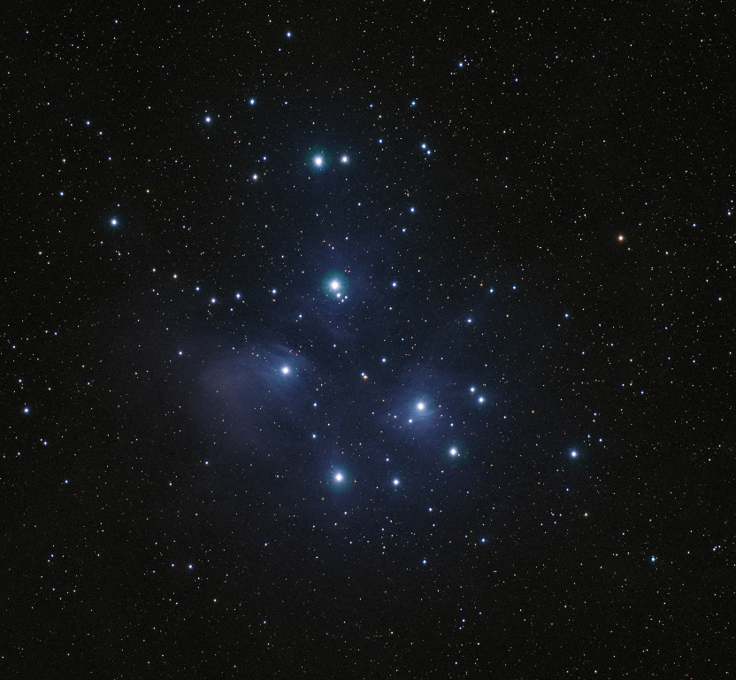 M45, known as Pleiades or Seven Sisters, is an open star cluster located in the constellation of Taurus. Taken 2014-01-26 with T14, a Takahashi FSQ Fluorite very wide field telescope located at the New Mexico Skies Observatories in Mayhill, New Mexico.
