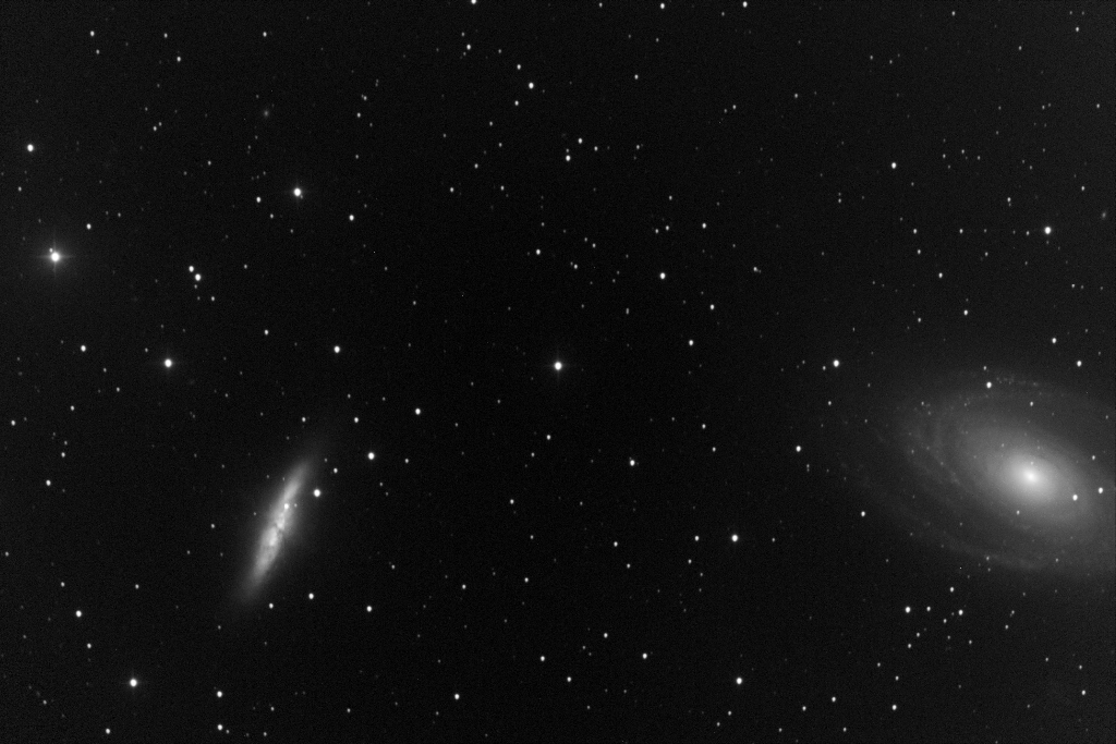 "Messier 82 (left), known as the Cigar Galaxy, is a prototype nearby starburst galaxy.  Visible here - M82 experienced an apparent Type Ia supernova (SN 2014J), which was observed in the galaxy on 21 January 2014.  M81 (right) or Bode's Galaxy is a spiral galaxy.  This shot was taken on 2014-01-28, one week after the supernova, with T11, a Planewave 20"" CDK located at the New Mexico Skies Observatories in Mayhill, New Mexico."
